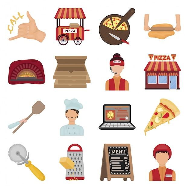 Pizza de desenho animado comida definir ícone Vetor Premium