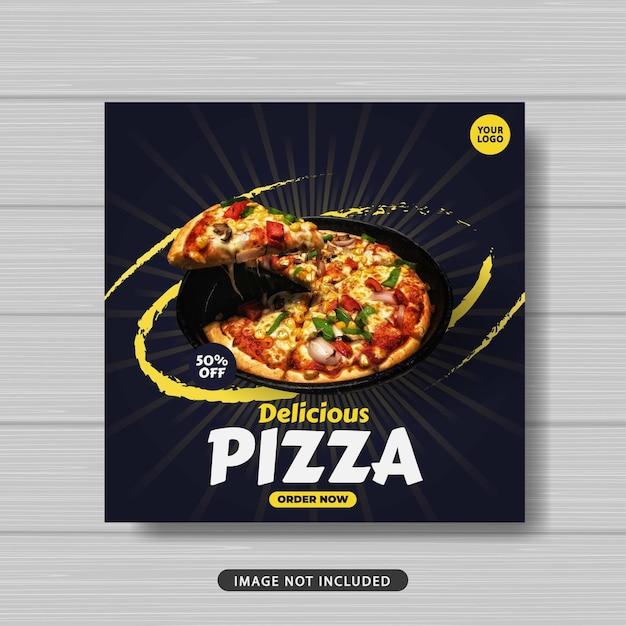 Pizza deliciosa promoção de venda de comida mídia social banner modelo de postagem Vetor Premium