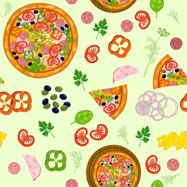 Pizza e ingredientes de padrão. Vetor grátis