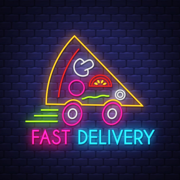 Pizza entrega rápida sinal de néon Vetor Premium