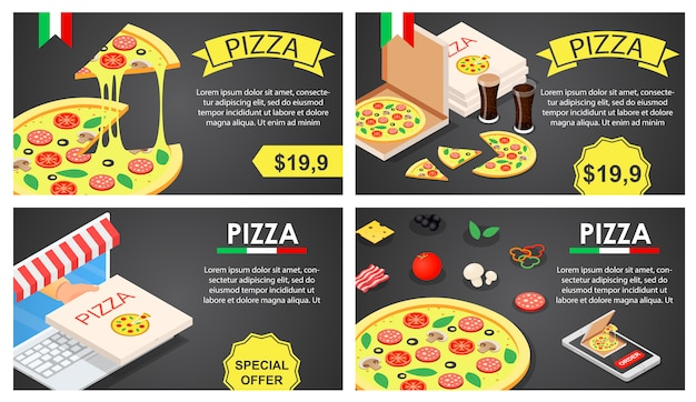 Pizza festival banner conceito definido, estilo isométrico Vetor Premium