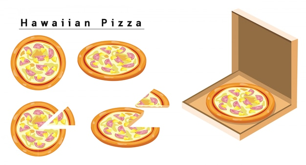 Pizza havaiana Vetor Premium