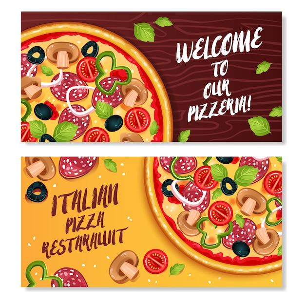 Pizza horizontal banners Vetor grátis