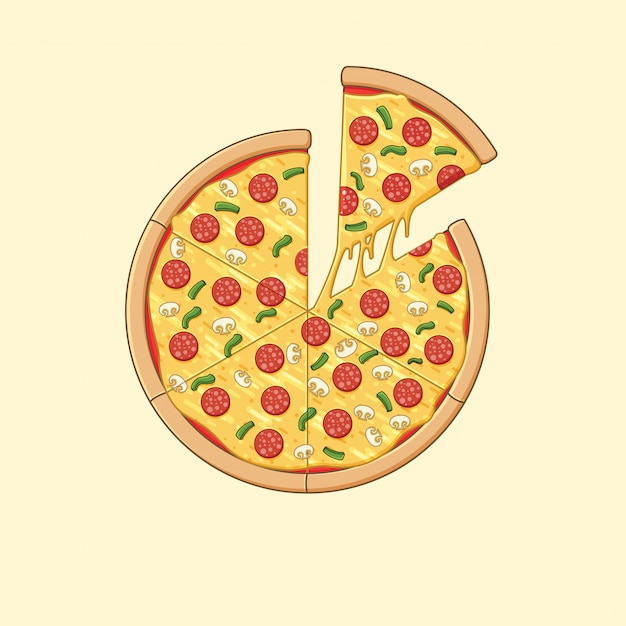 Pizza ilustração Vetor Premium