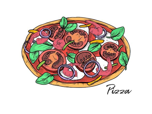 Pizza isolada em um branco Vetor Premium
