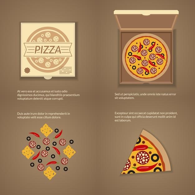 Pizza italiana em estilo simples. caixa de papelão, queijo e fatia, lanche do jantar Vetor Premium