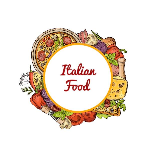 Pizza italiana, especiarias, legumes e queijo em torno do círculo com lugar para texto Vetor Premium