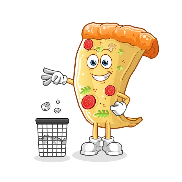 Pizza jogue o lixo no mascote da lata de lixo. desenho animado Vetor Premium