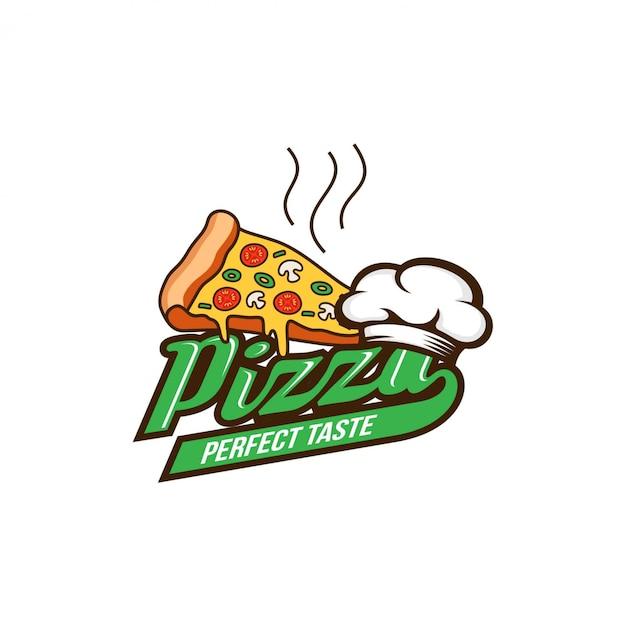 Pizza logo design template Vetor Premium