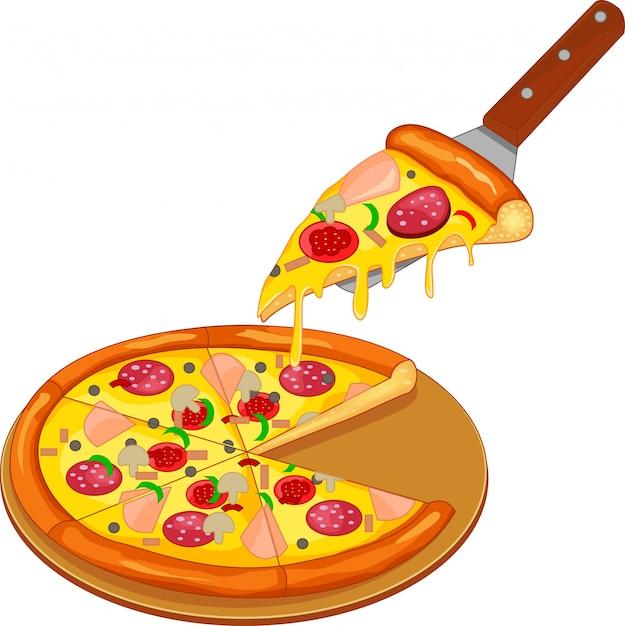 Pizza no quadro Vetor Premium