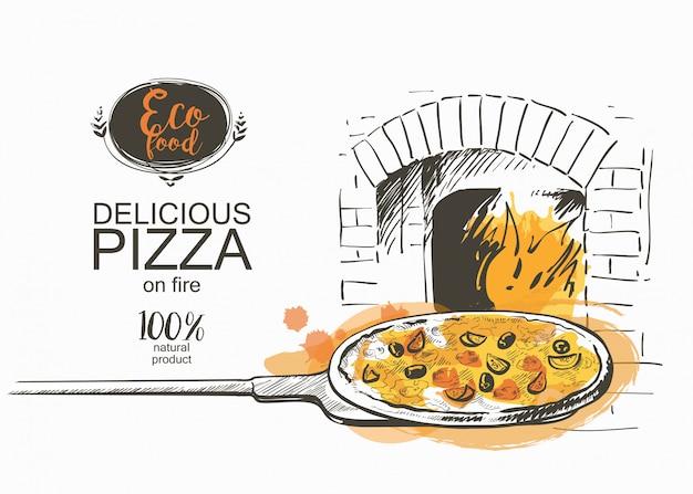 Pizza pronta para assar na ilustração vetorial de forno Vetor Premium