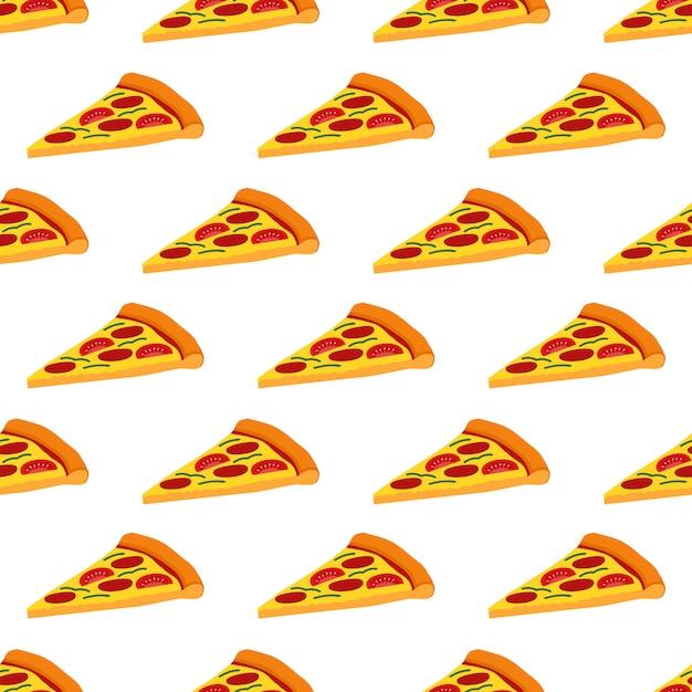 Pizza sem costura padrão vector design de fundo Vetor Premium