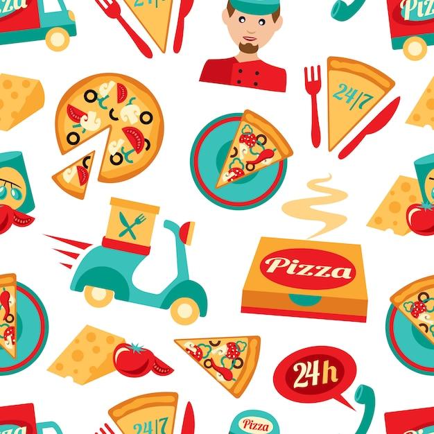 Pizza sem costura padrão Vetor Premium