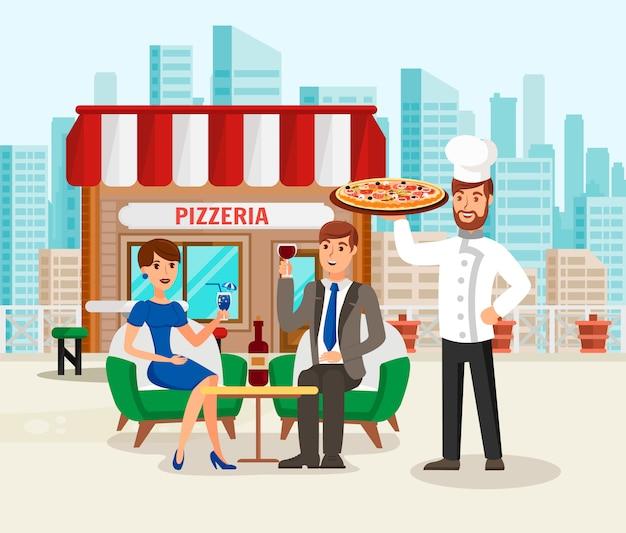 Pizzaria com ilustração de desenhos animados de clientes feliz Vetor Premium