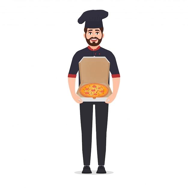 Pizzaria detém ilustração vetorial de pizza Vetor Premium
