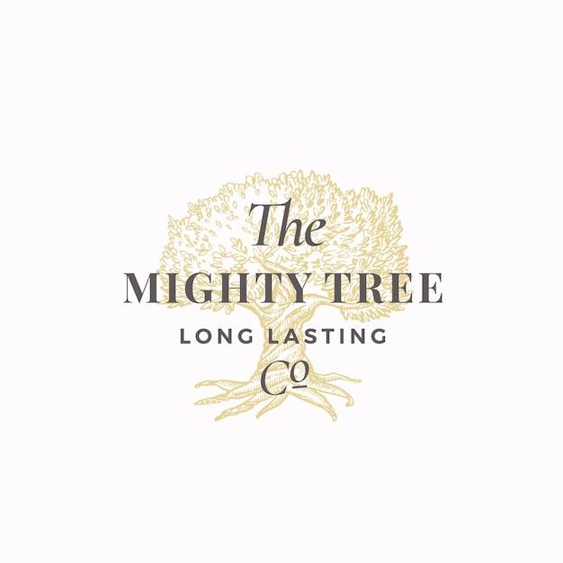 Placa abstrata de empresa de longa duração mighty tree Vetor grátis