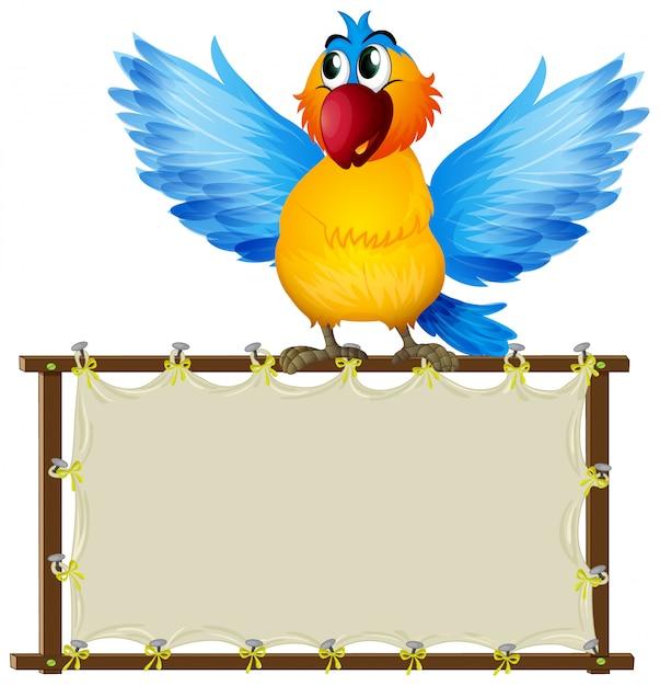 Placa com papagaio fofo Vetor grátis