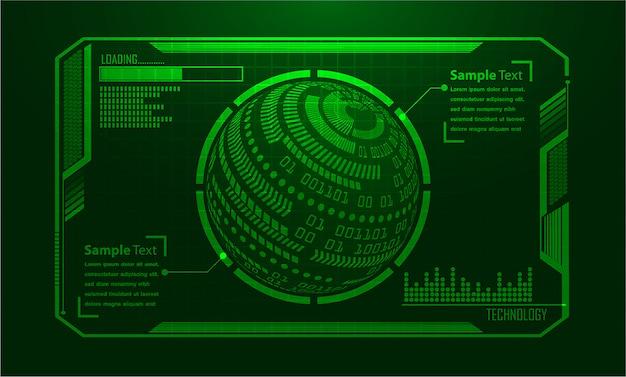 Placa de circuito binário tecnologia futura, mundo verde hud cyber segurança conceito fundo, Vetor Premium