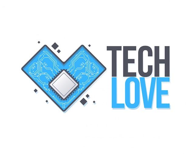 Placa de circuito de vetor com coração. tech love Vetor Premium
