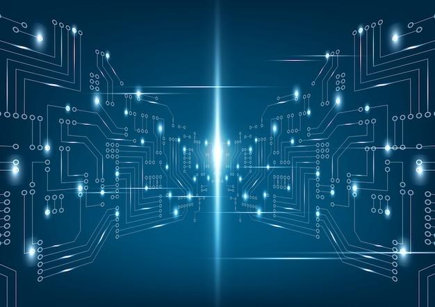 Placa de circuito futurista abstrata em fundo azul escuro. Vetor Premium