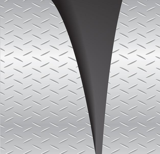 Placa de corte metal rasgando e espaço fundo preto Vetor Premium