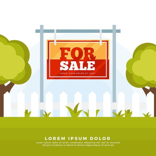 Placa de design plano de venda de quintal Vetor grátis