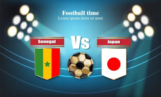 Placa de futebol senegal flag vs japão Vetor Premium
