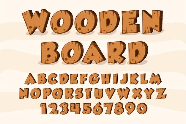 Placa de madeira alfabeto fonte madeira Vetor Premium
