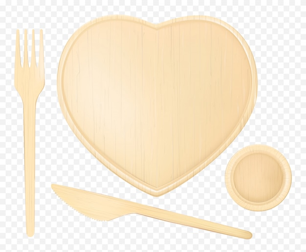 Placa de madeira coração com garfo, faca e vidro Vetor grátis