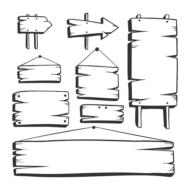 Placa de madeira desenhada de mão Vetor Premium