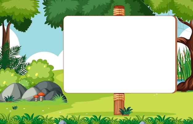 Placa de madeira em branco na cena do parque natural Vetor grátis