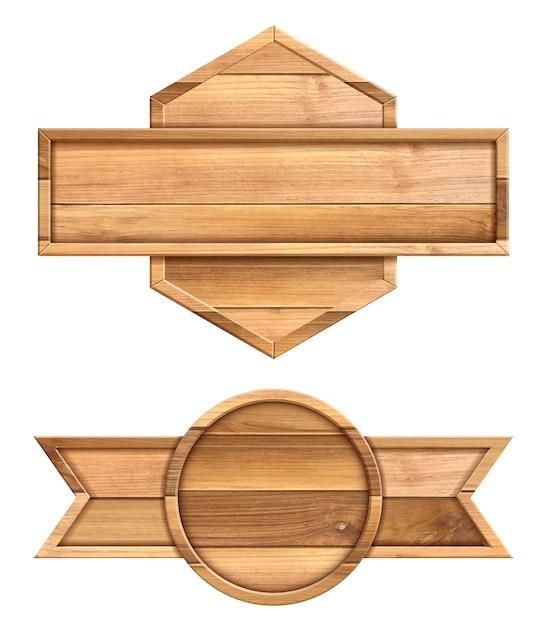 Placa de madeira isolada no fundo branco Vetor Premium