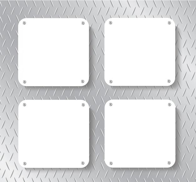 Placa de metal e fundo do espaço Vetor Premium