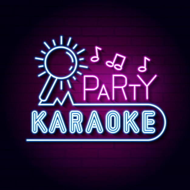 Placa de néon de karaoke bar. exibição de sinal de luz de néon conduzida. Vetor Premium