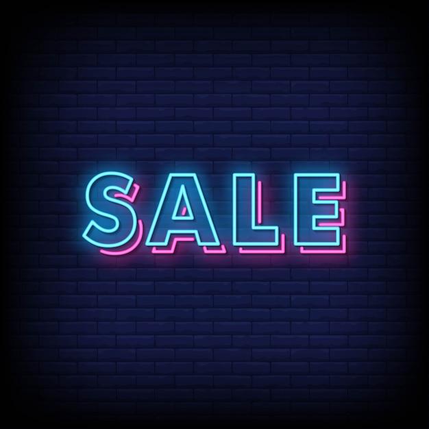 Placa de néon de venda Vetor Premium