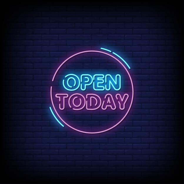 Placa de néon hoje aberta na parede de tijolo Vetor Premium