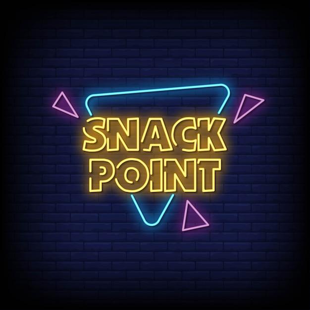Placa de néon snack point na parede de tijolo Vetor Premium
