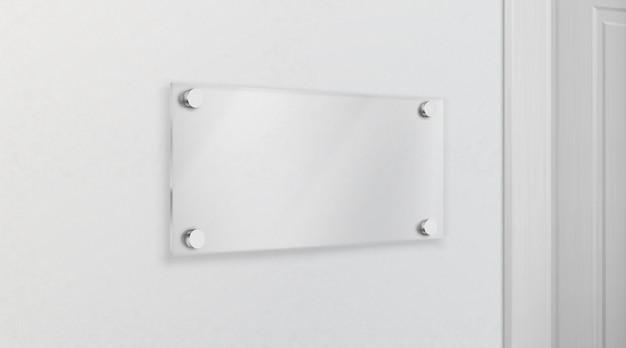 Placa de nome de vidro vazio 3d realista vector Vetor grátis