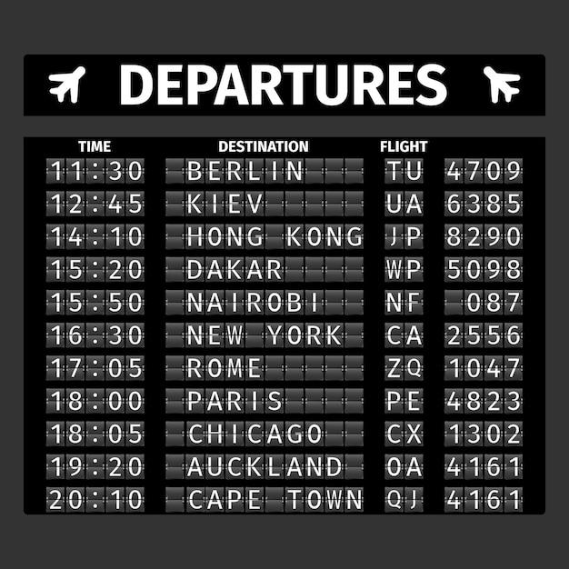 Placa de partida do aeroporto Vetor grátis