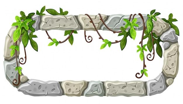 Placa de pedra com galhos e folhas de liana. Vetor grátis