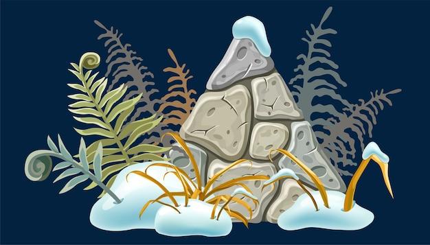 Placa de pedra com montes de neve, grama, samambaia. Vetor grátis