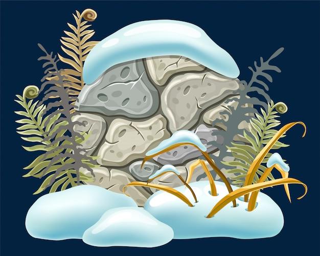 Placa de pedra decoração nevascas. Vetor grátis