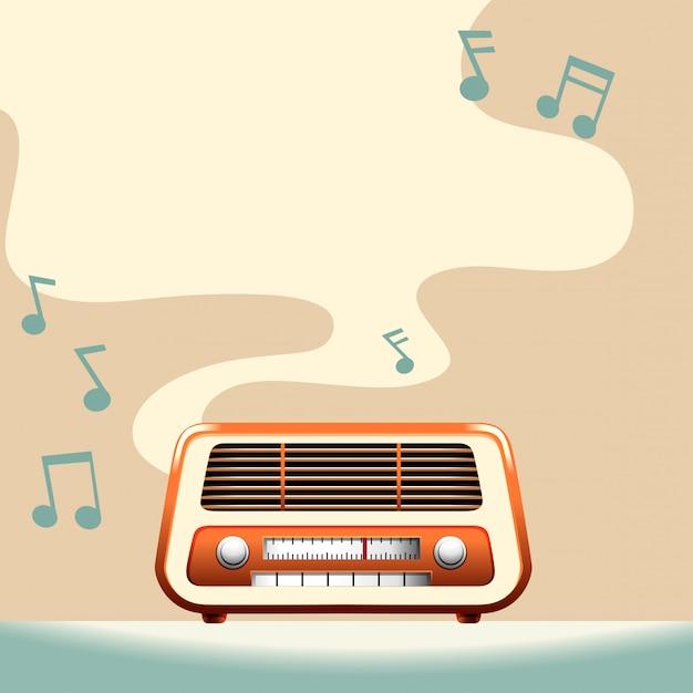 Placa de rádio com espaço de cópia Vetor grátis