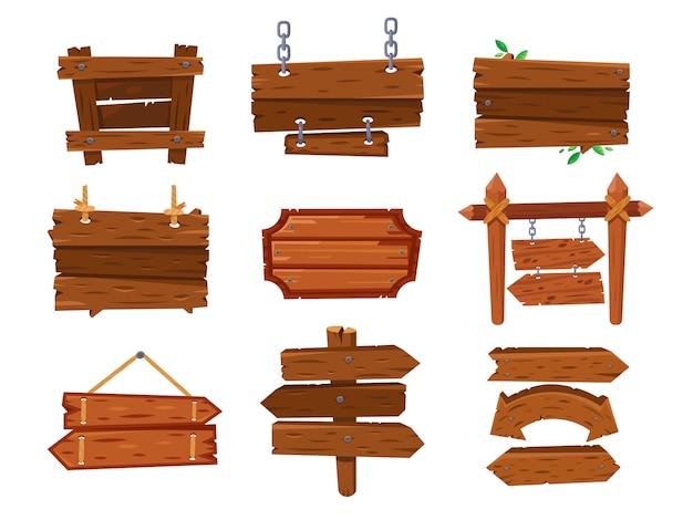 Placa de sinal de madeira dos desenhos animados vintage vazio ou oeste limpo tabuleta. letreiro de flechas velhas, outdoor de madeira compensada e sinais de madeira isolados vector set Vetor Premium