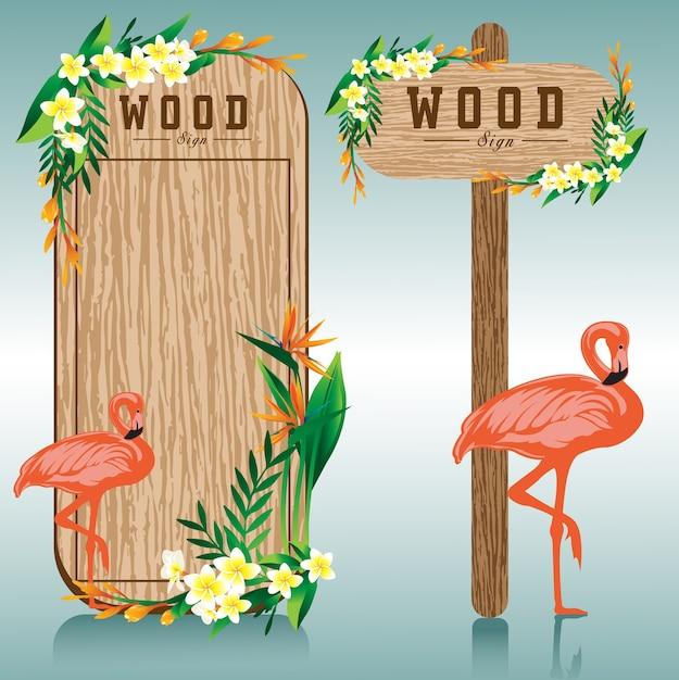 Placa de sinal de madeira e ilustração de flor de flamingo Vetor Premium