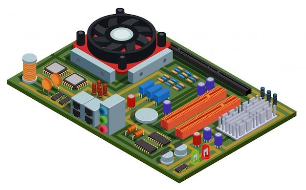 Placa de sistema para ilustração isométrica de pc com elementos semicondutores slots microchips capacitores diodos transistores Vetor grátis