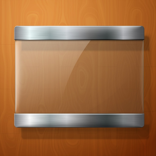 Placa de vidro com suportes de metal, para sua sinalização, sobre fundo de madeira. Vetor Premium