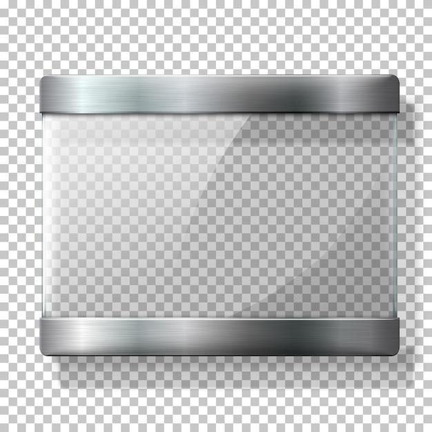 Placa de vidro transparente com suportes de metal, para sua sinalização, sobre fundo wplaid. Vetor Premium