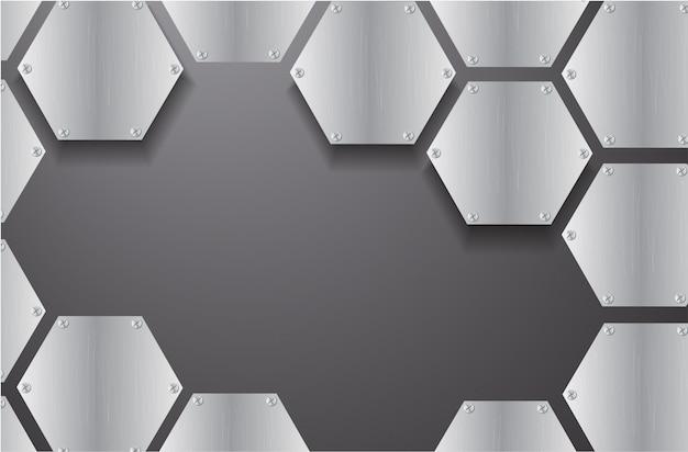 Placa hexágono de metal e fundo preto Vetor Premium