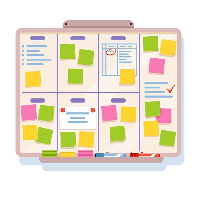 Placa para o planejamento com diferentes tarefas, escritas em papéis coloridos Vetor Premium